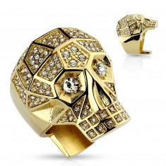 Masszív 316L acél gyűrű, arany színű, koponya, tiszta kristályok