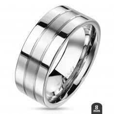 Acélgyűrű két fényes csíkkal a peremén és egy matt középső csíkkal, 8 mm