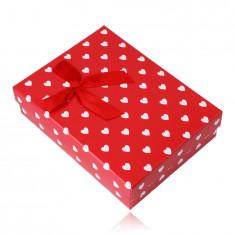 Ajándékdoboz lánchoz vagy szetthez - fehér szívek, piros háttér