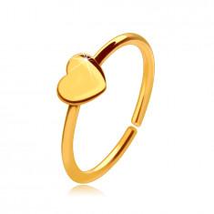 14K arany orrpiercing, fényes gyűrű, kis szívvel, 8 mm
