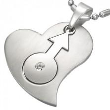 Acél medál - szív és férfi szimbólum