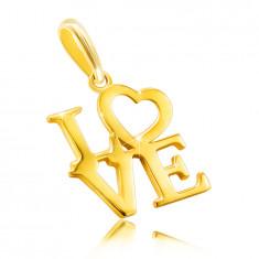 """9K sárga arany medál  - """"LOVE"""" felirat nagybetűkkel, szív az O betű helyén."""