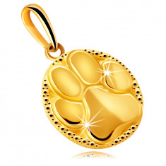 Arany medál 9K aranyból – kerek tükörfényes tábla, állat mancs motívum