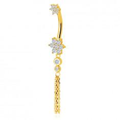 375 arany köldökpiercing – virágok cirkóniákkal, két átlátszó cirkónia foglalatban, karika lánccal