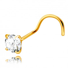 Piercing 375 sárga aranyból ívelt véggel – átlátszó kerek cirkónia, 3 mm