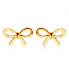 9K sárga arany fülbevaló - fényes lapos masni