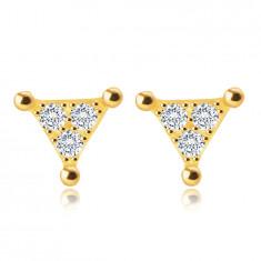 9K sárga arany beszúrós fülbevaló – háromszög átlátszó cirkóniákkal