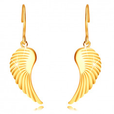 9K arany fülbevaló – nagy angyalszárnyak, fényes felület, afrikai horog