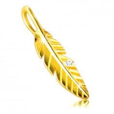 9K arany medál - fényes gravírozott toll, cirkónium, cirkónia