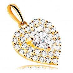 Medál 9K aranyból – szív csillogó cirkóniákkal díszítve, beágyazott cirkónia szív