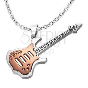 Réz színű gitár medál acélból