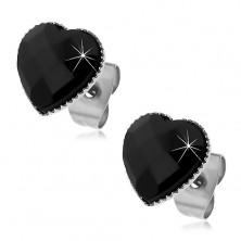 Fülbevaló 316L acélból - fekete csiszolt szív, stekkerek