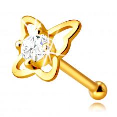 Arany orrpiercing 9K aranyból – pillangó körvonal egy kerek átlátszó cirkóniával, 2,25 mm
