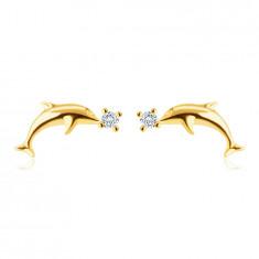 Beszúrós fülbevaló 9K aranyból - sima fényes delfin, apró kerek cirkóniák