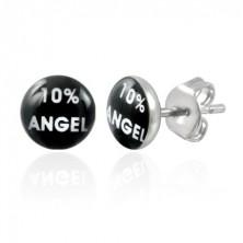 Acél fülbevaló, fekete kör fehér felirattal 10% ANGEL
