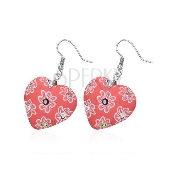 FIMO fülbevaló - piros szívecske, cirkóniák