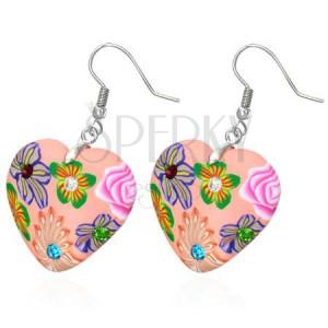 FIMO fülbevaló - rózsaszín szív tarka virágokkal