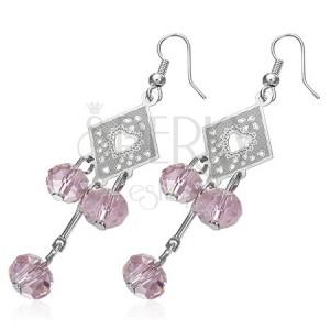 Fülbevaló - díszítetett rombusz és rózsaszín gyöngyök