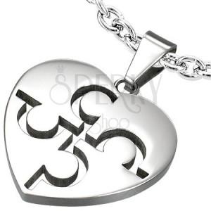 Szív alakú acél medál - puzzle, ezüst