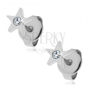 Acél fülbevaló - ötágú csillag cirkóniával, stekkerek