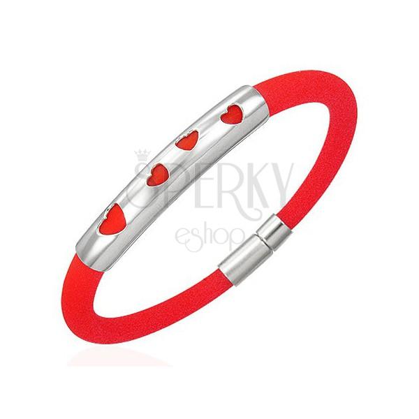 Gumi karkötő - négy szívecske, piros