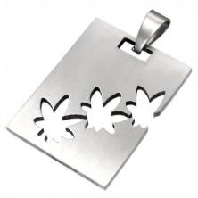 Medál sebészeti acélból ezüst színben, téglalap marihuánalevél alakú kivágásokkal