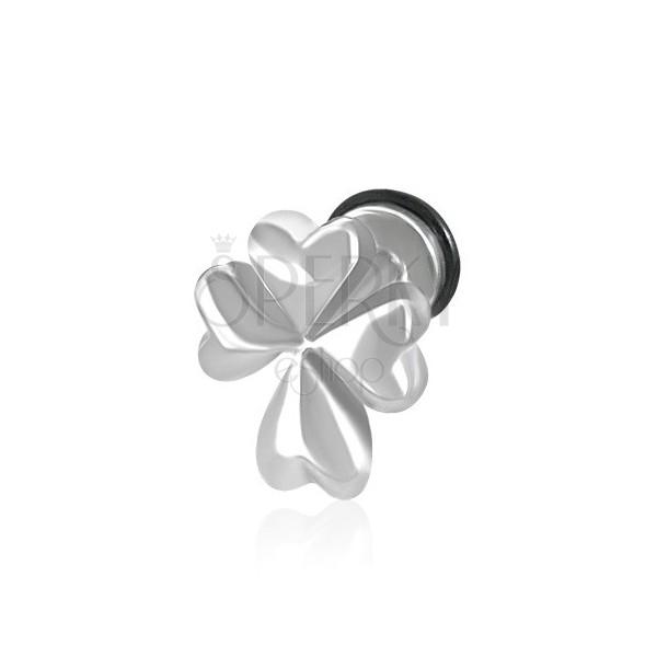 Hamis fül piercing ezüst színben - ír négylevelű lóhere