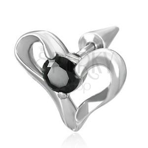 Hamis expander - acél szív, fekete cirkónia kő