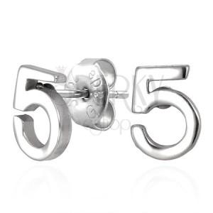 Sebészeti acélból készült fülbevaló, mágikus szám 5