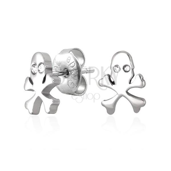 Sebészeti acél fülbevaló - koponya és cirkónia