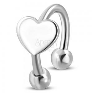 Piercing sebészeti acélból, patkó szívecskével, ezüst szín