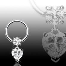 Karika piercing - szív medál tiszta cirkónia kővel