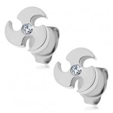 Acél fülbevaló ezüst színben - forgó penge, átlátszó cirkónia