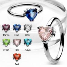 Karika piercing - cirkónia köves szív