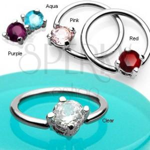 Karika piercing - négyzet alakú cirkónia