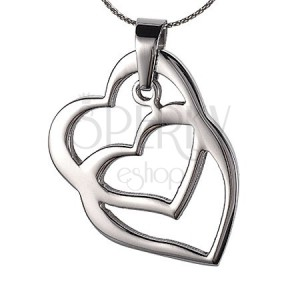Acél medál - összefonódó szívek