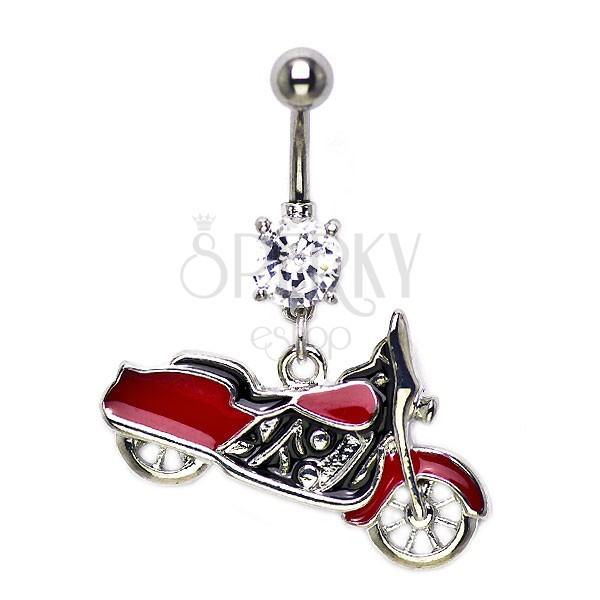 Köldök piercing - vörös Harley Davidson