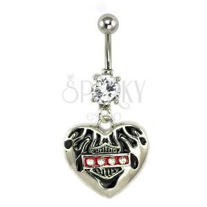 Köldök piercing - Harley szív, cirkóniák
