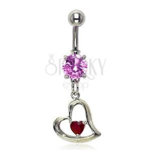 Köldök piercing - ferde szív, rózsaszín és piros kövek