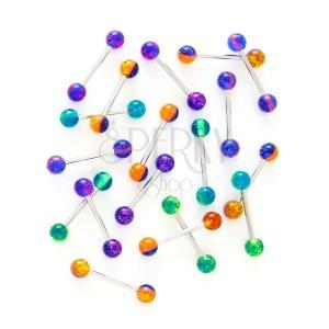 Nyelvpiercing - három színű ragyogó golyócskák