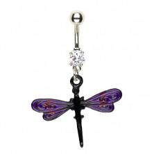 Köldök piercing - szitakötő lilás fekete szárnyakkal