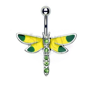 Köldök piercing - sárga - zöld szitakötő