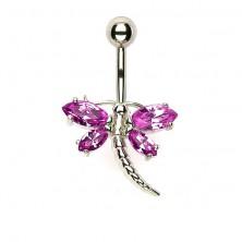 Köldök piercing - szitakötő rózsaszín szárnyakkal