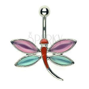 Köldök piercing - rózsaszín és kék szárnyak