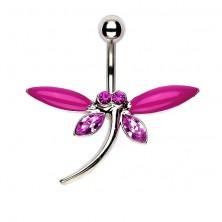 Köldök piercing - szitakötő, matt és cirkóniával kirakott rózsaszín szárnyak