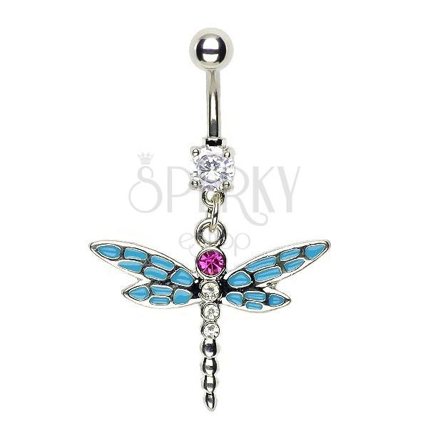 Köldökékszer - szitakötő, kék tagolt szárnyak, rózsaszín kő
