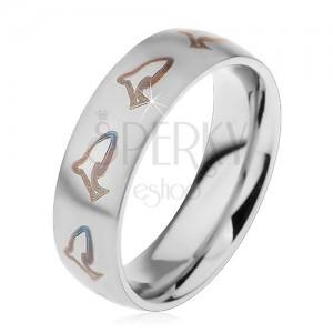 Acél gyűrű - fekete delfinek