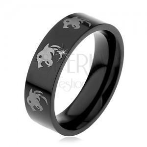 Fekete gyűrű nemesacélból - farkas