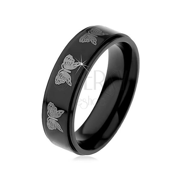 Fekete acél gyűrű - világos pillangók