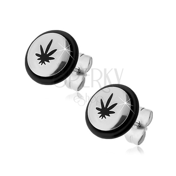 Sebészeti acél fülbevaló - fekete marihuána levél